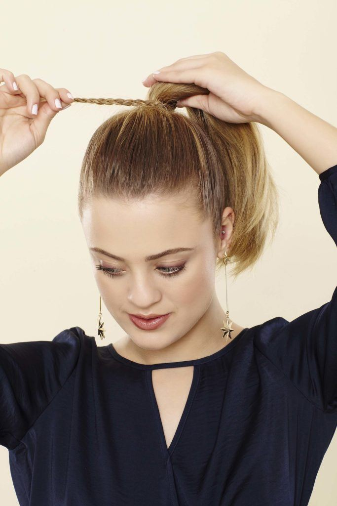 loop a braid around the base of your high ponytail