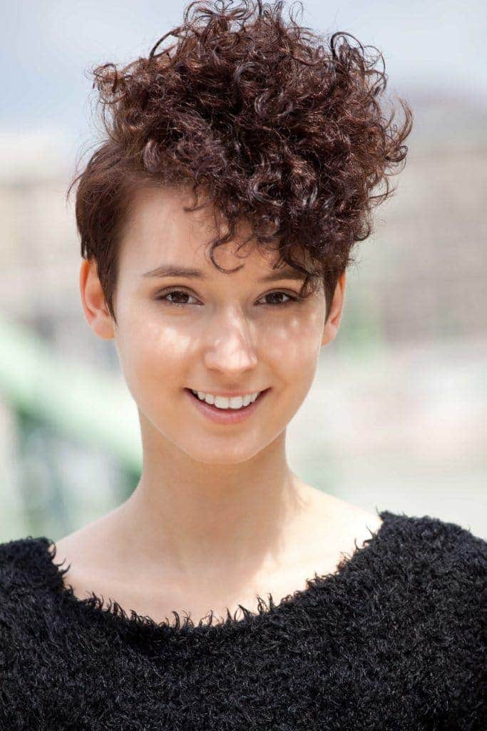 short haircuts for curly pixie: mohawk style