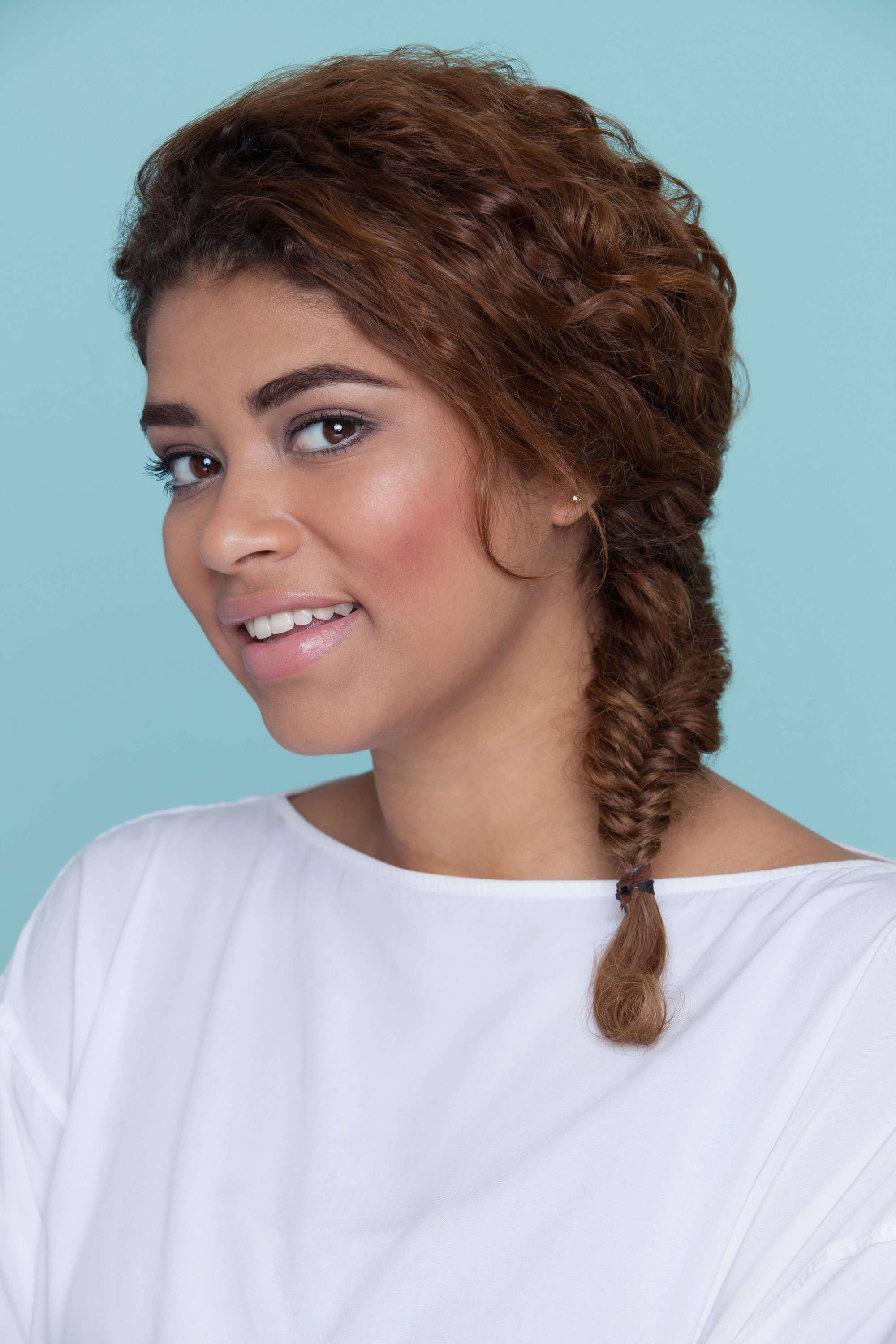 fishtail braid curly hair
