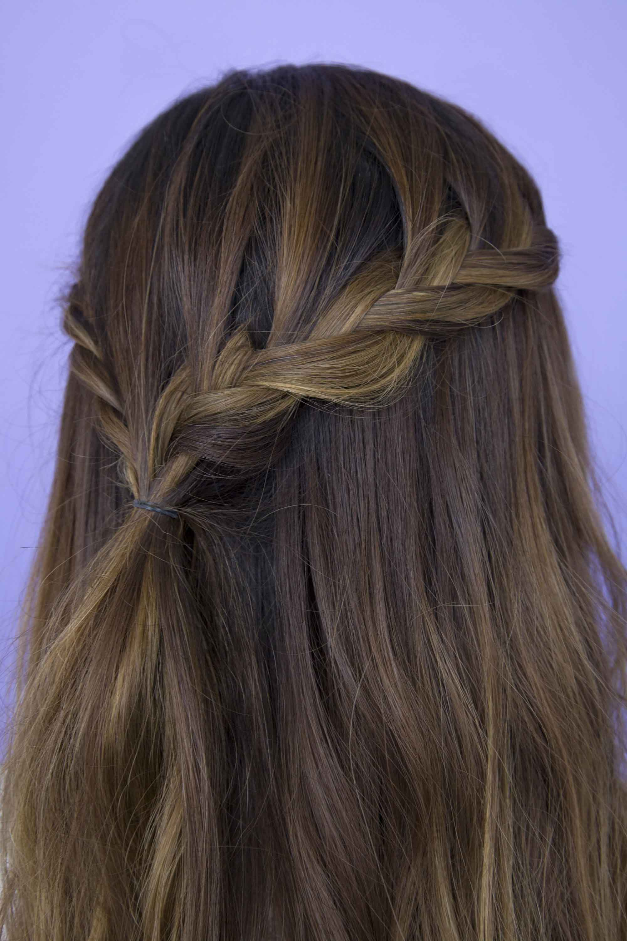 half braided hairstyles loose waterfall
