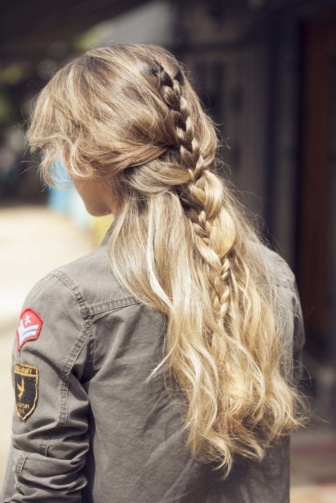 double three strand half braided hairstyles
