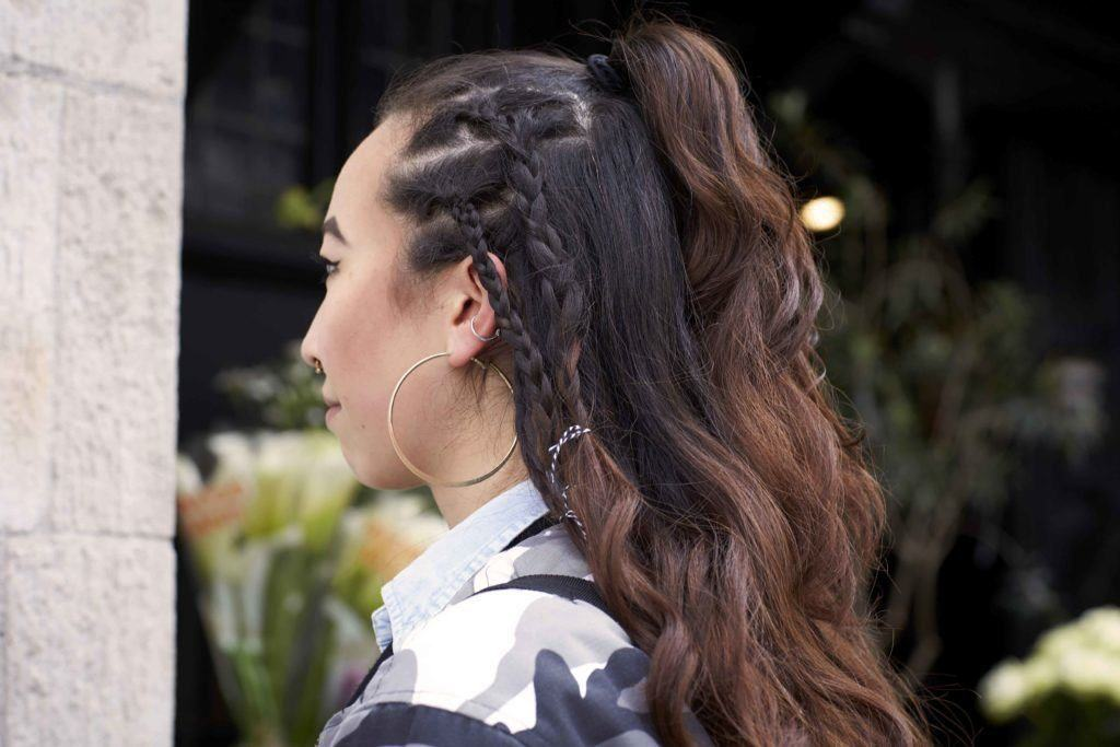 loose cornrows half braided hairstyles