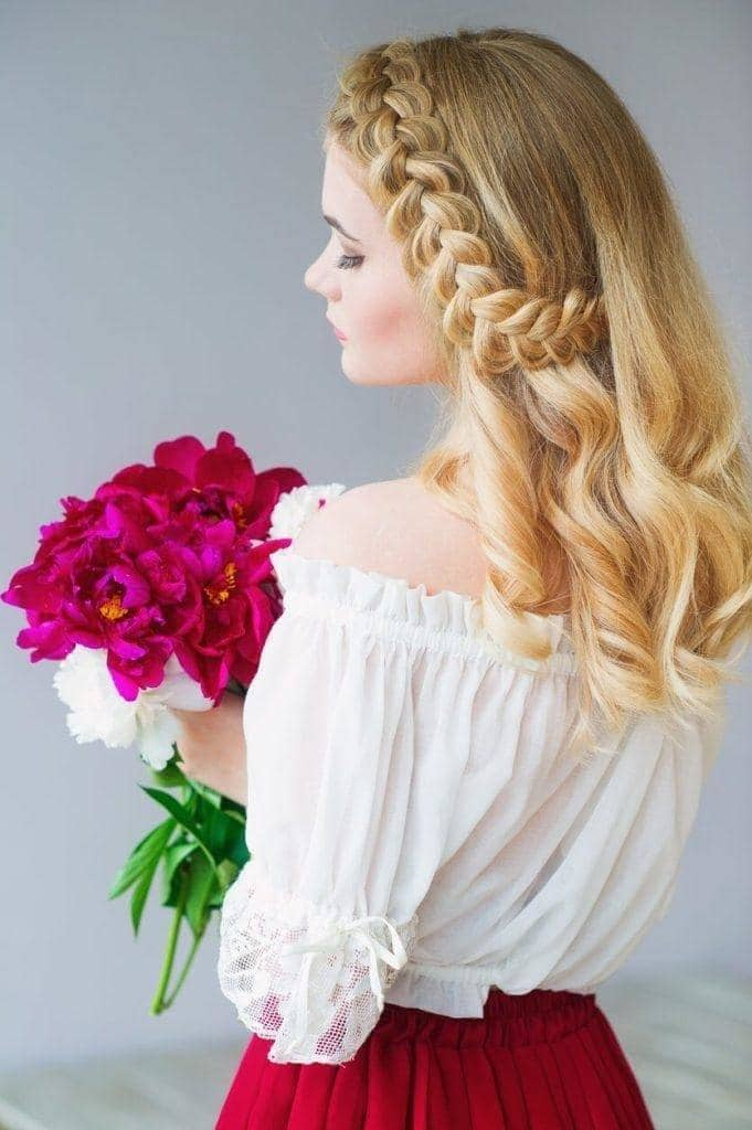 side dutch half braided hairstyles