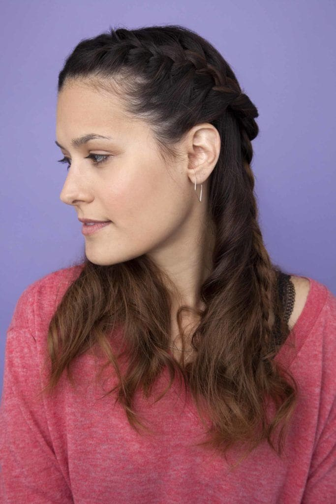 french three strand back half braided hairstyles