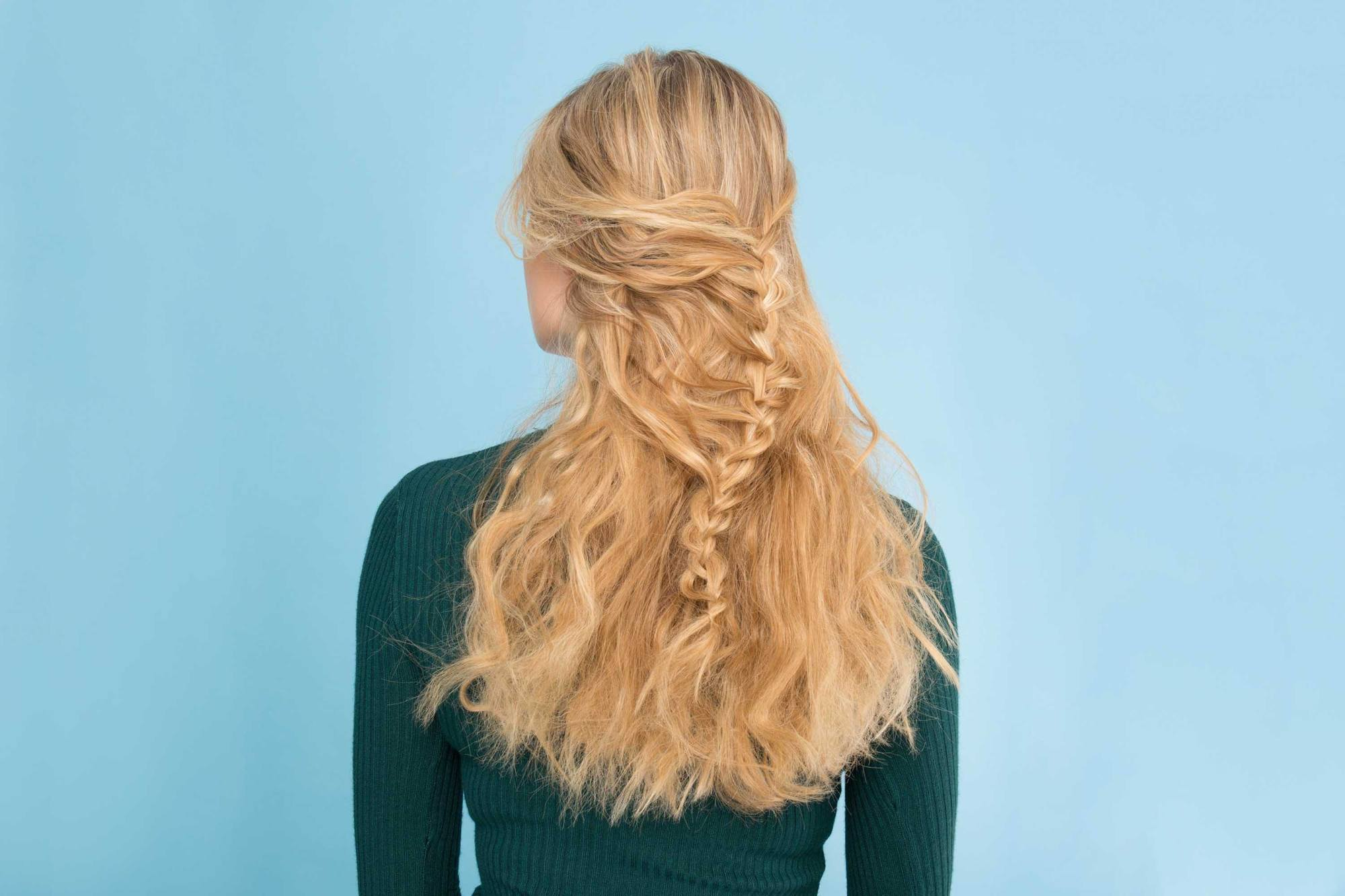 side waterfall half braided hairstyles