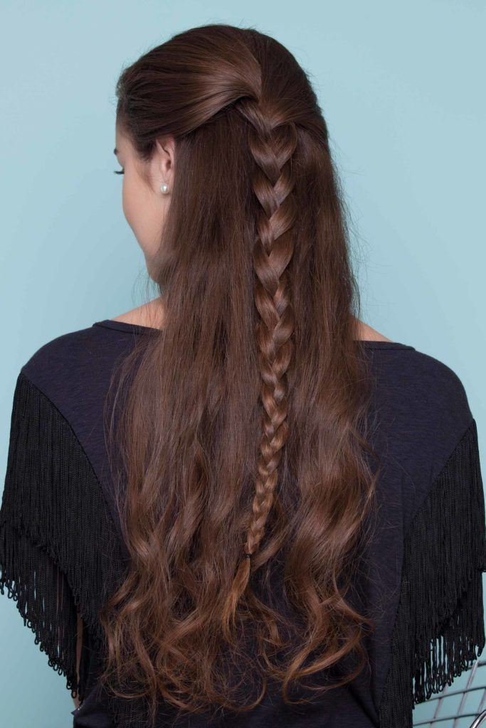 simple three strand half braided hairstyles