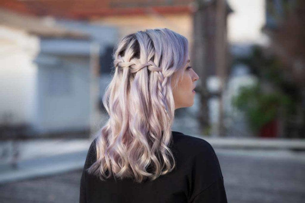 traditional waterfall half braided hairstyles