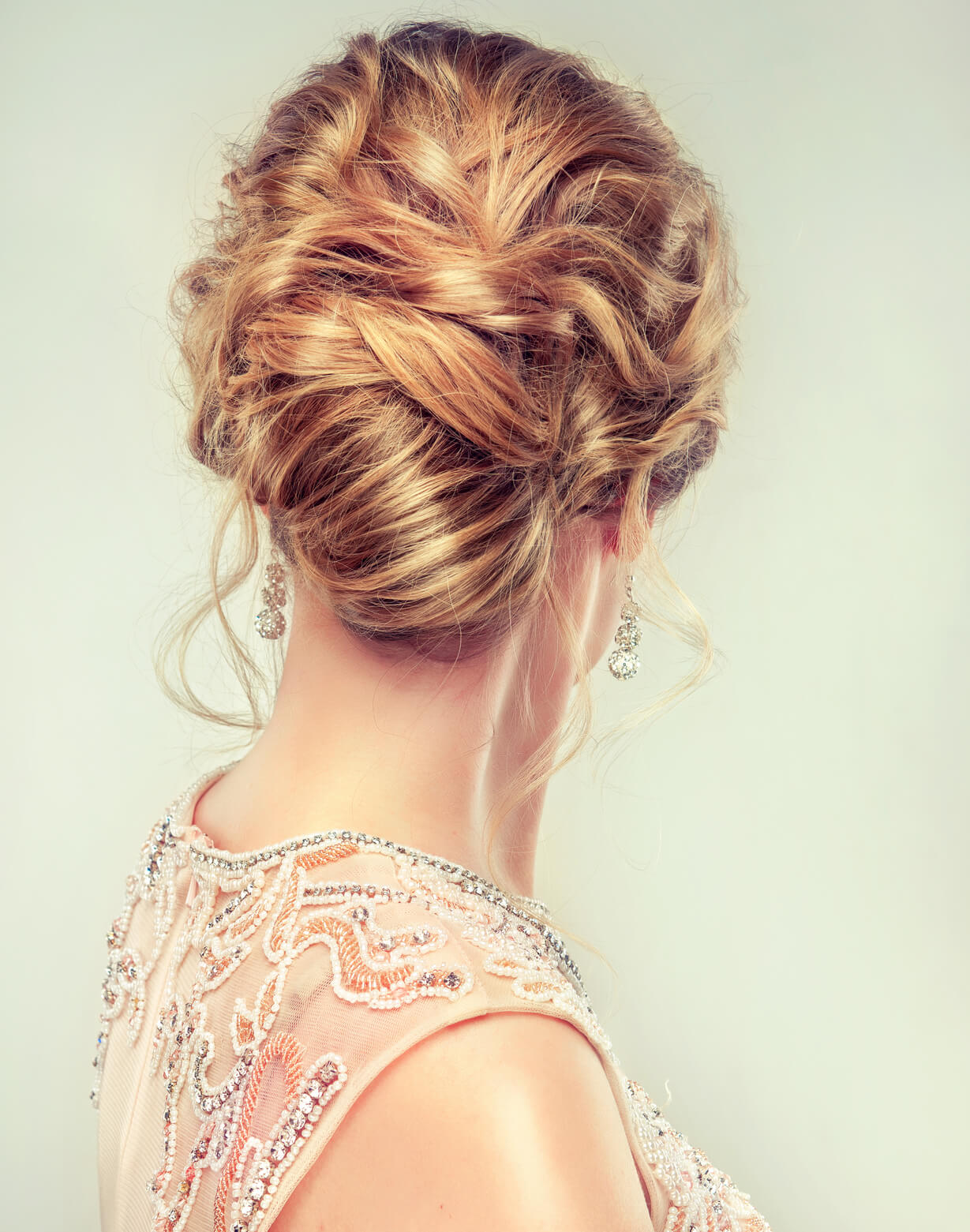 messy, curly hair updo