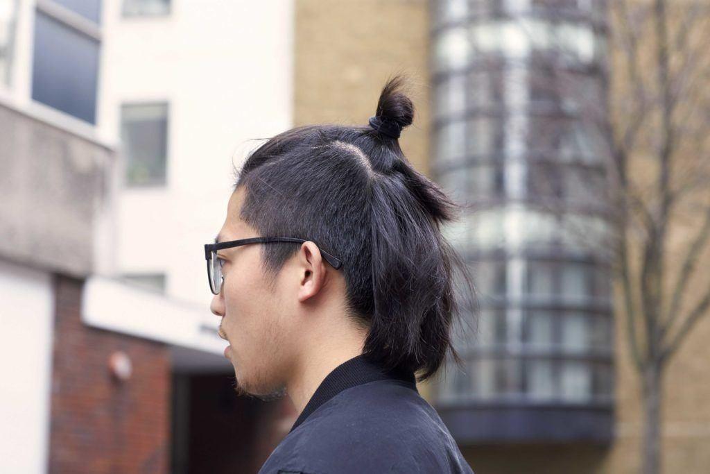 half up knot long undercut
