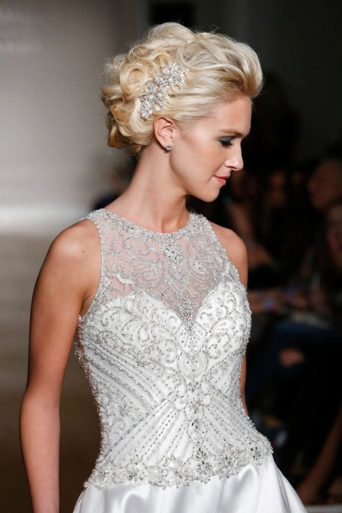 rhinestone barrette wedding updos for long hair