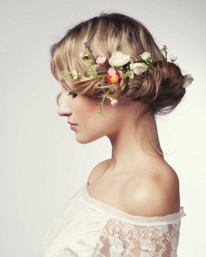 spring bunch wedding updos for long hair