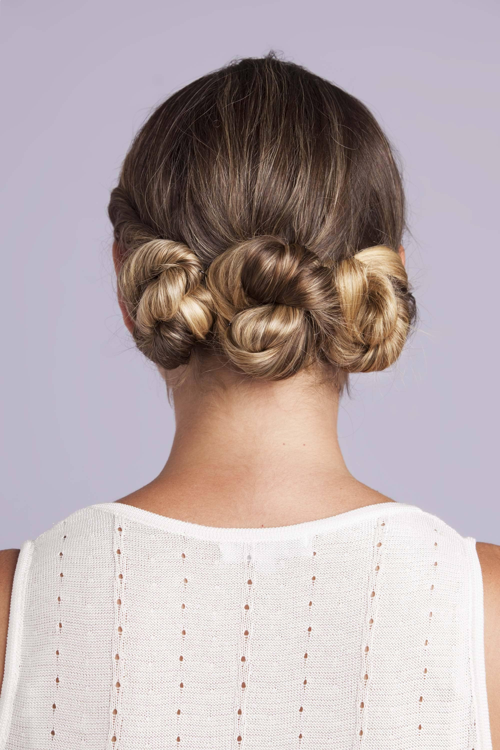 three-twist bun wedding updos for long hair