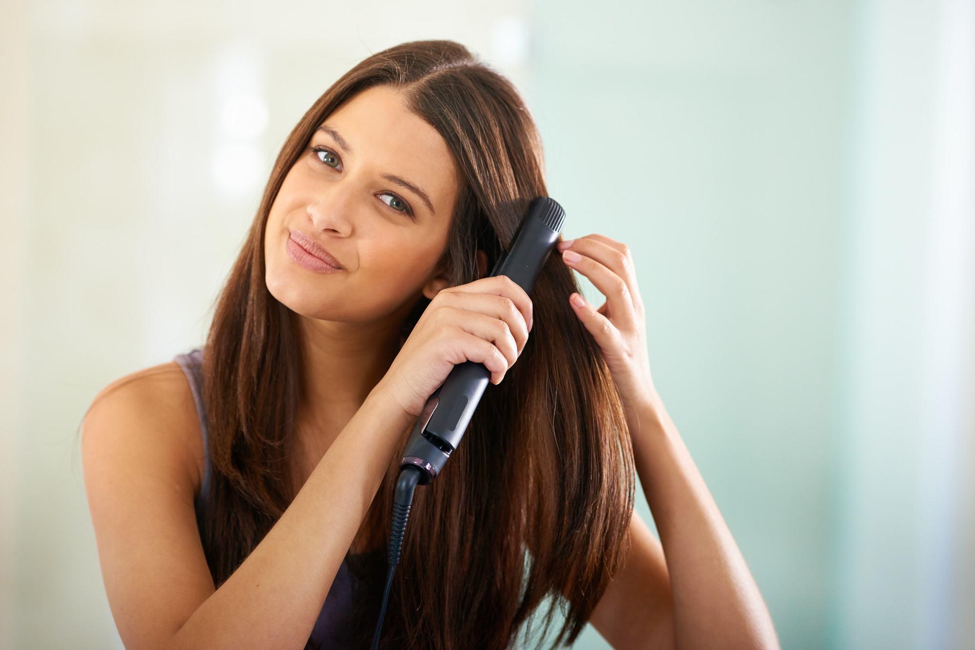 flat iron spray straight brown hair
