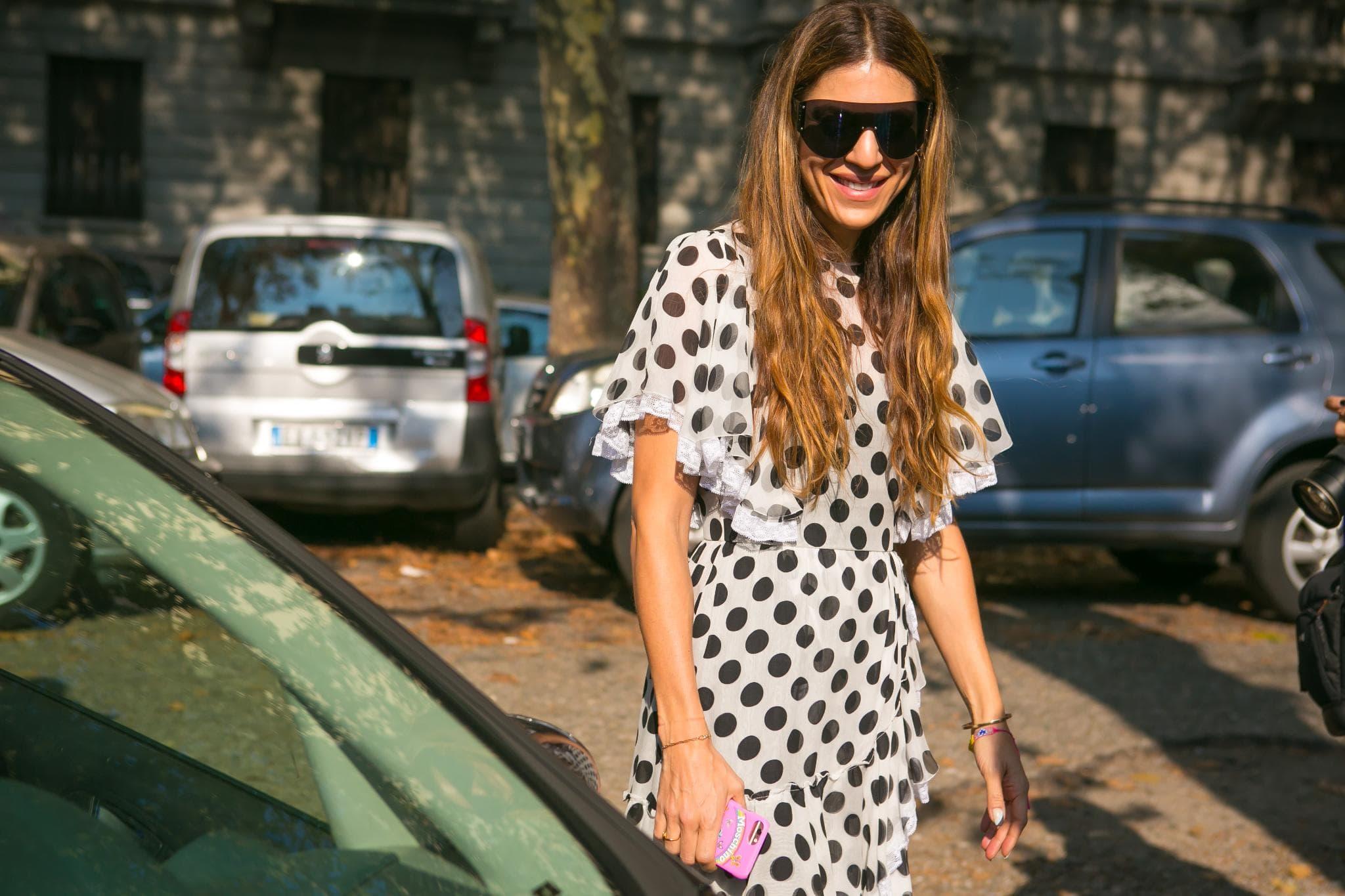 Milan fashion week street style center part waves