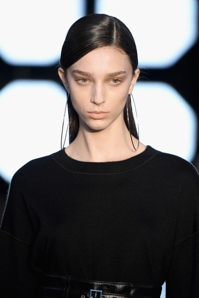 sleek style sally la pointe nyfw brunette model