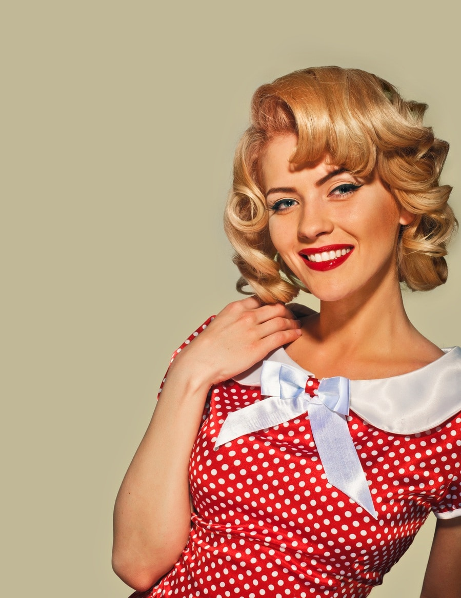 50s hairstyles for long hair: retro pin curls