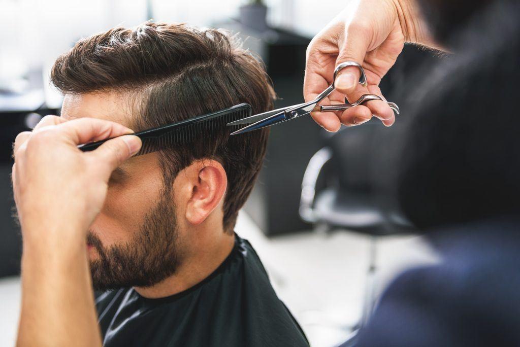 hard part haircut brunette overgrown fade