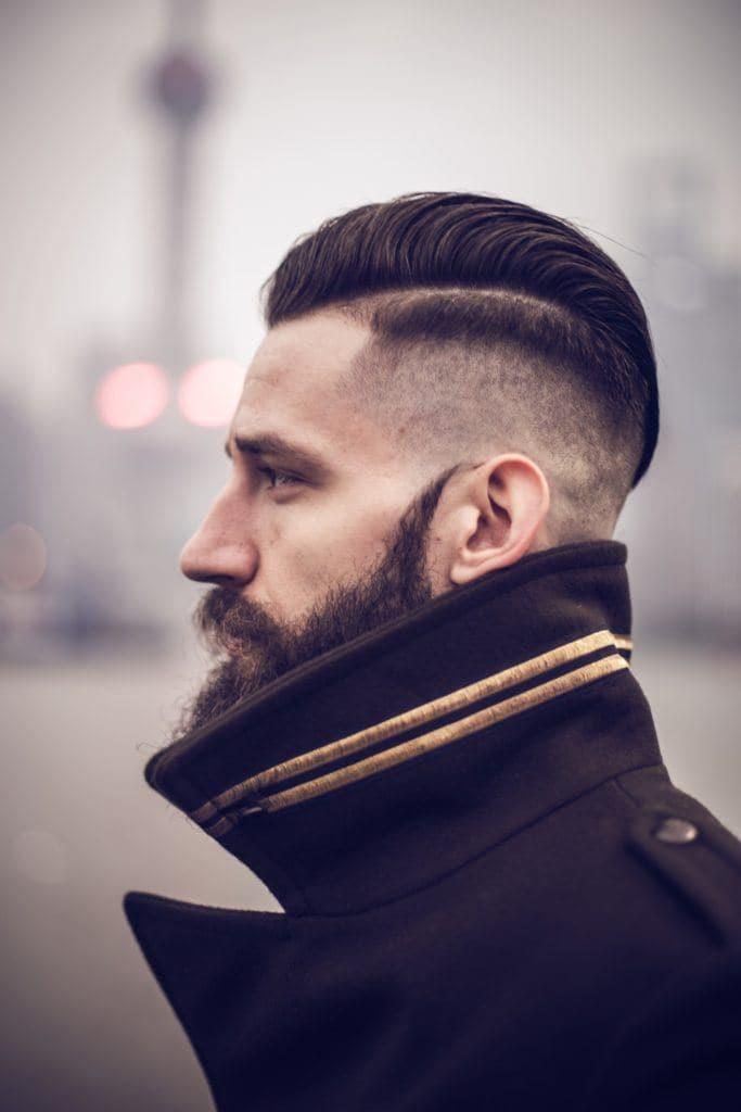 classic hard part haircut dark brown classic hard part