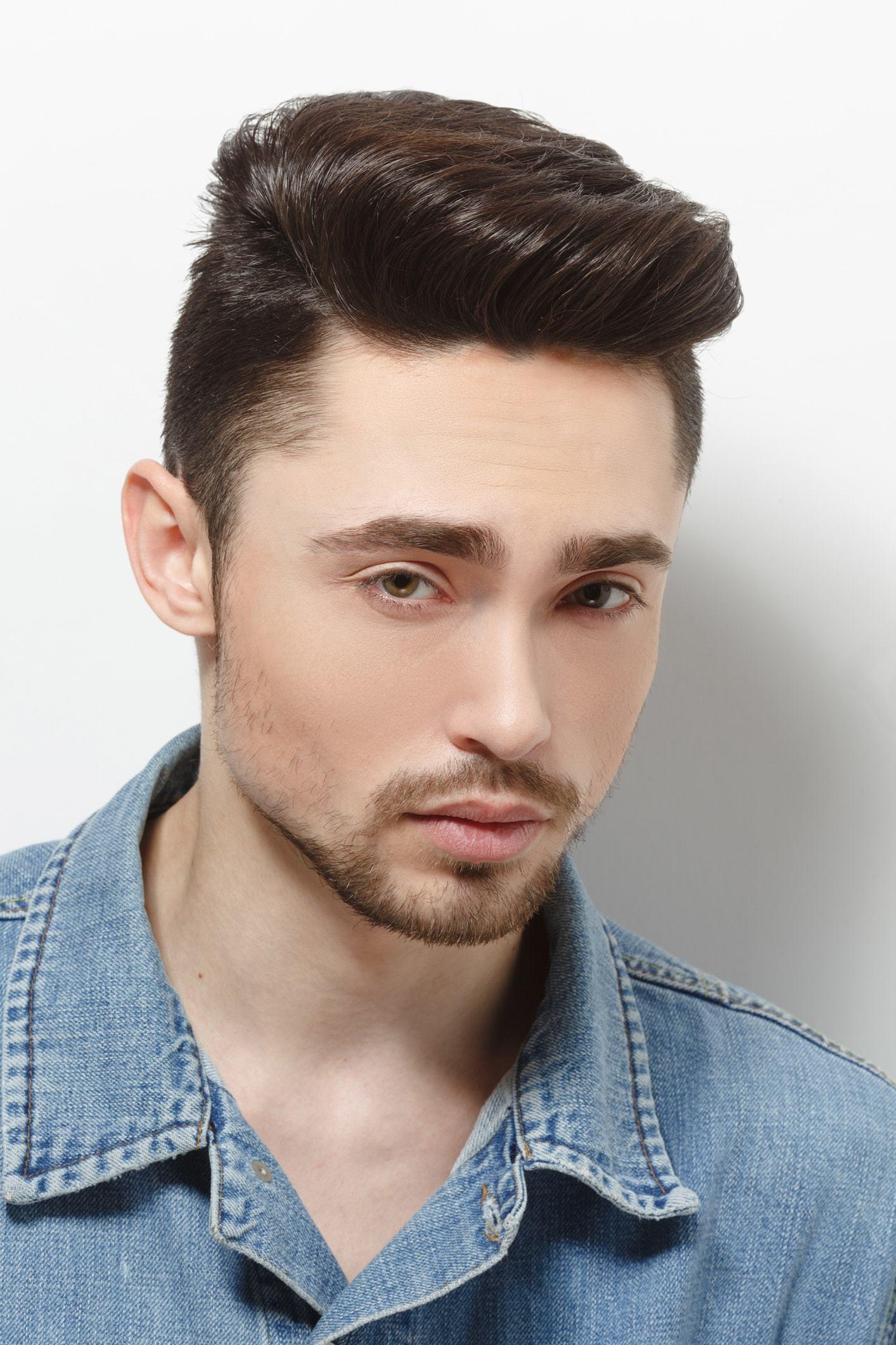 hard part haircut thick brunette hair
