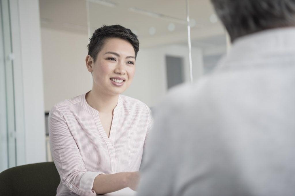 long pixie haircut asian woman