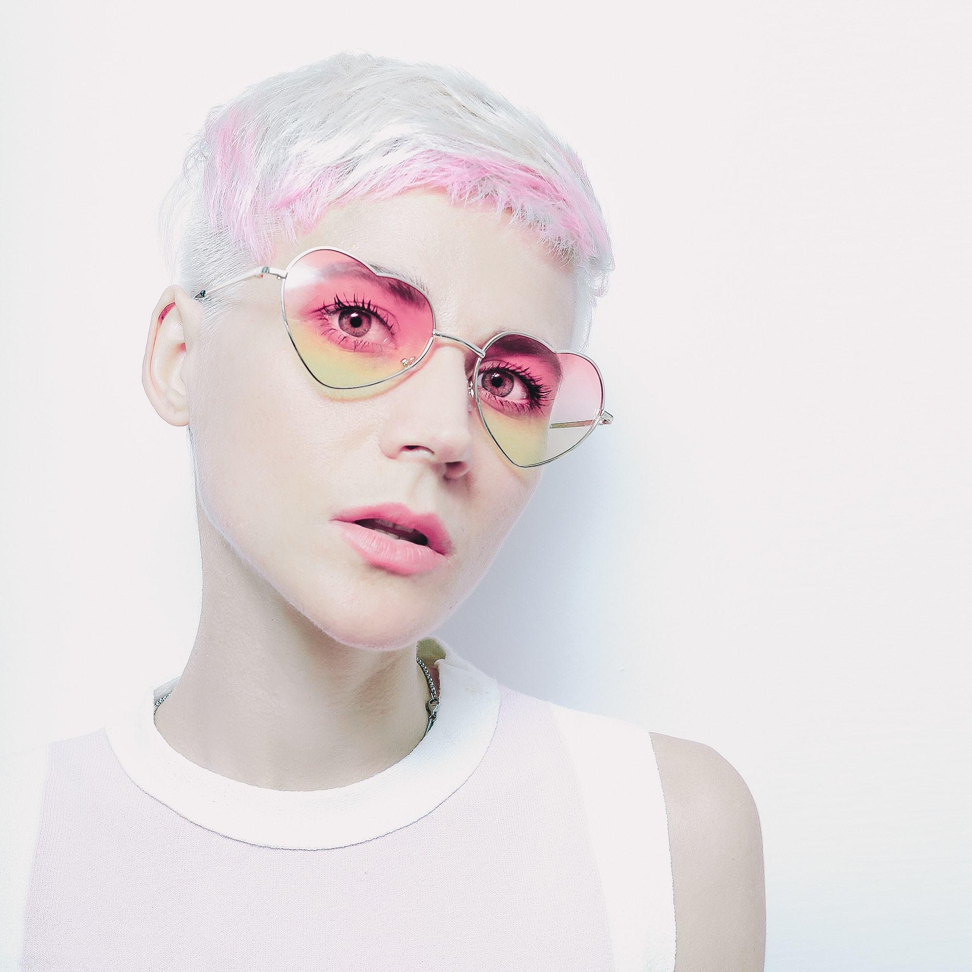 long pixie haircut pink silver