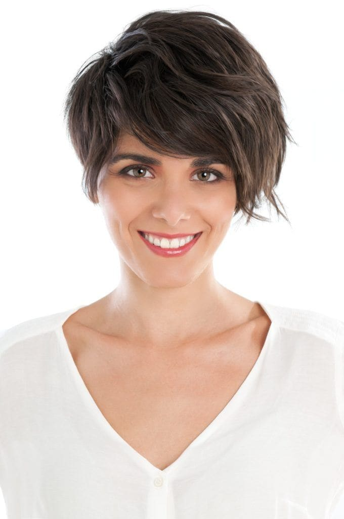long pixie haircut wavy volume brunette