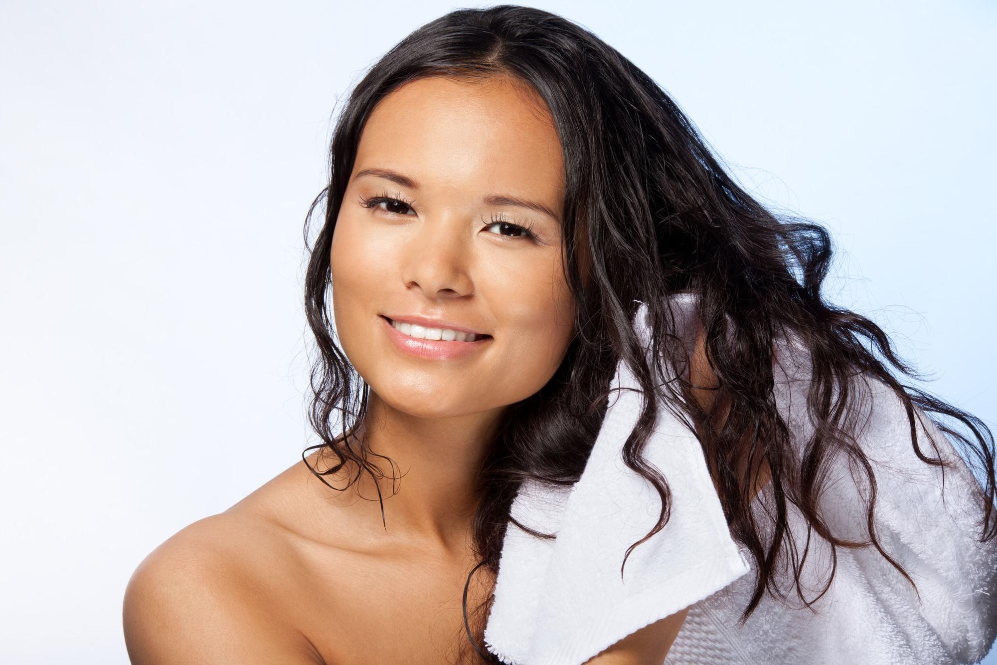 organic conditioner dark brunette towel damp hair