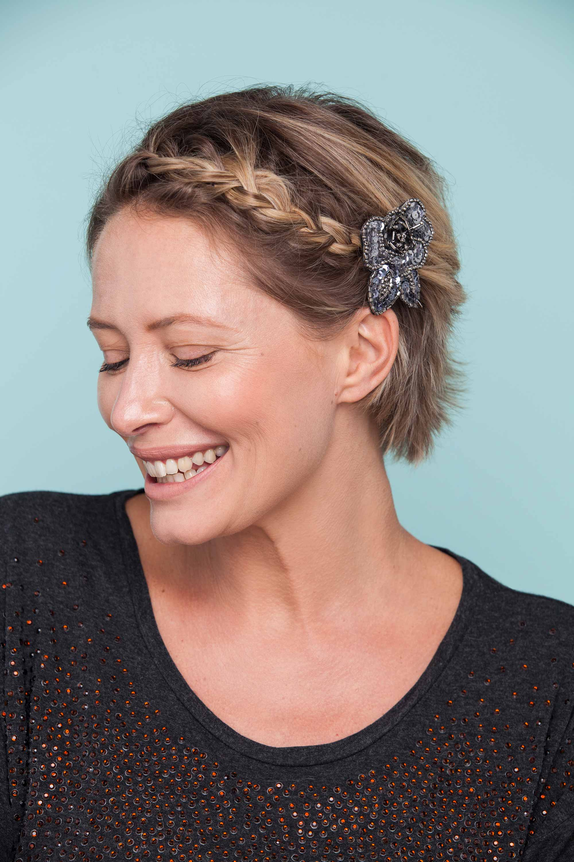 short and glitzy party braids