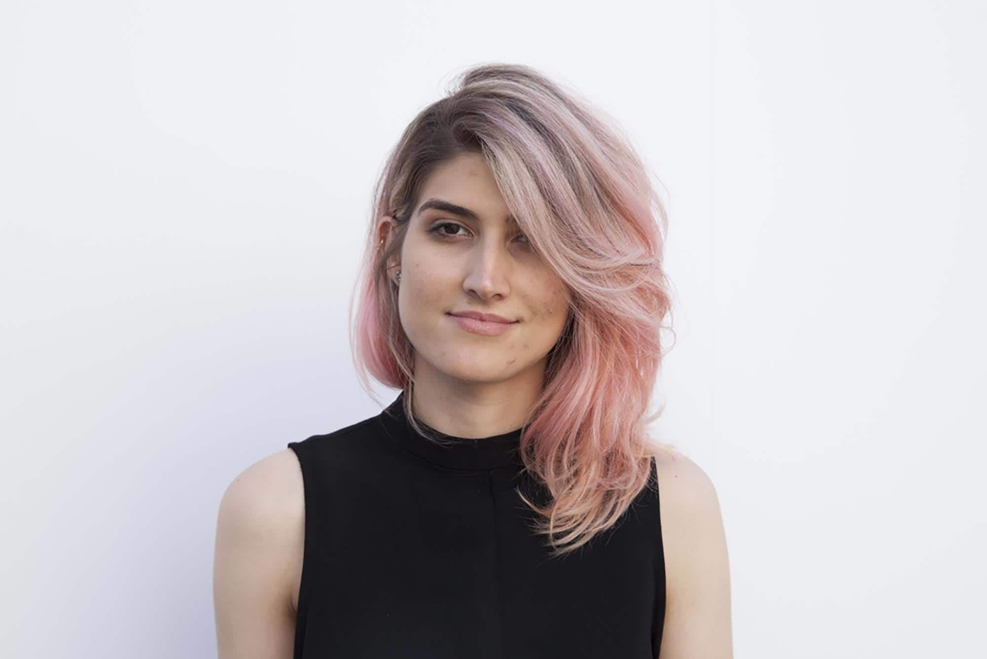 balayage short hair: pink hair