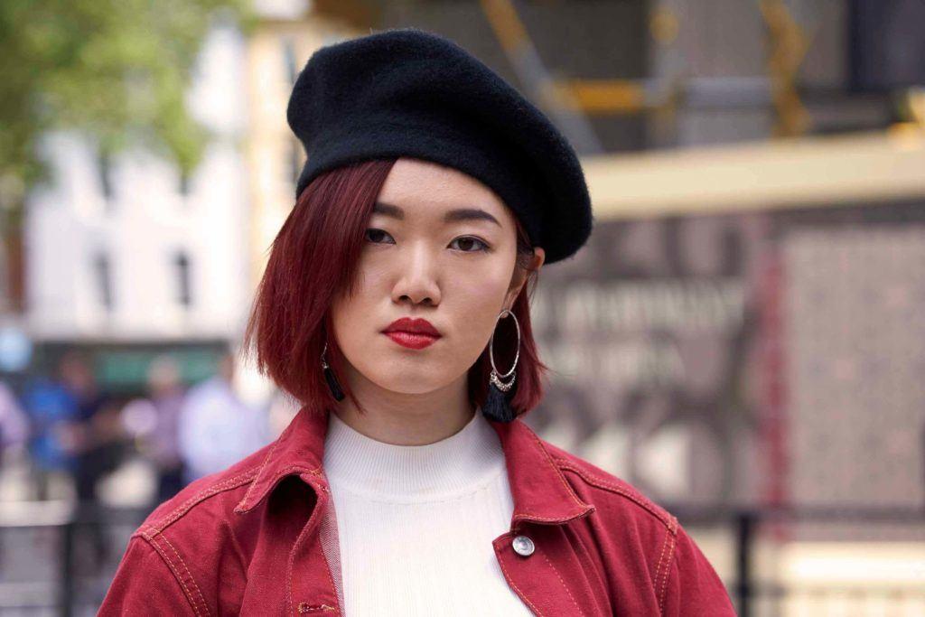 burgundy lob Korean short hairstyles