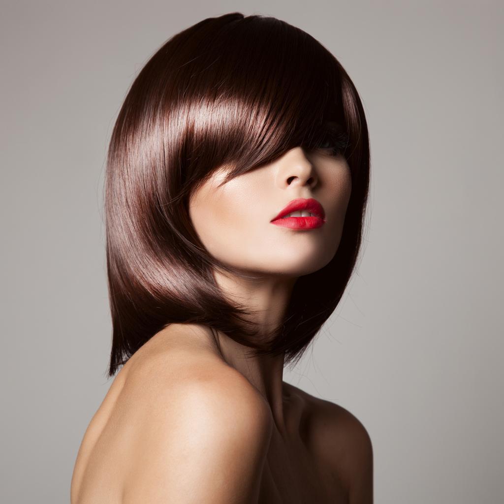 mahogany hair color dramatic bangs