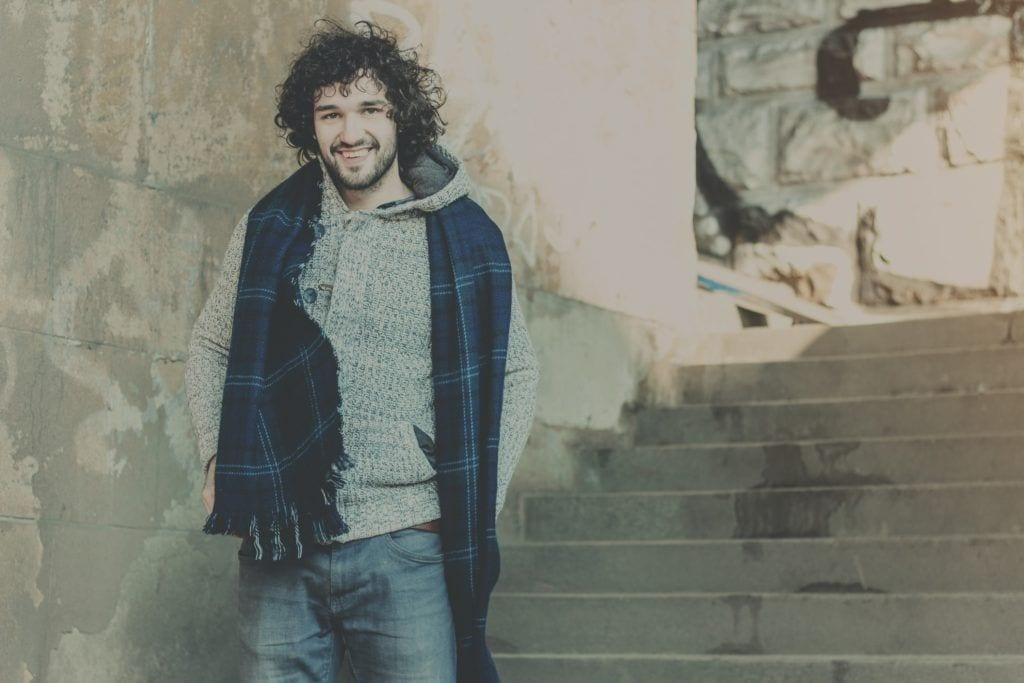 man perm wild medium length curls