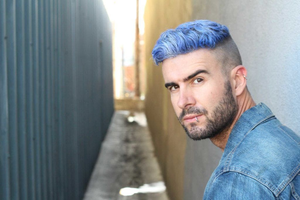 blue mens hair color