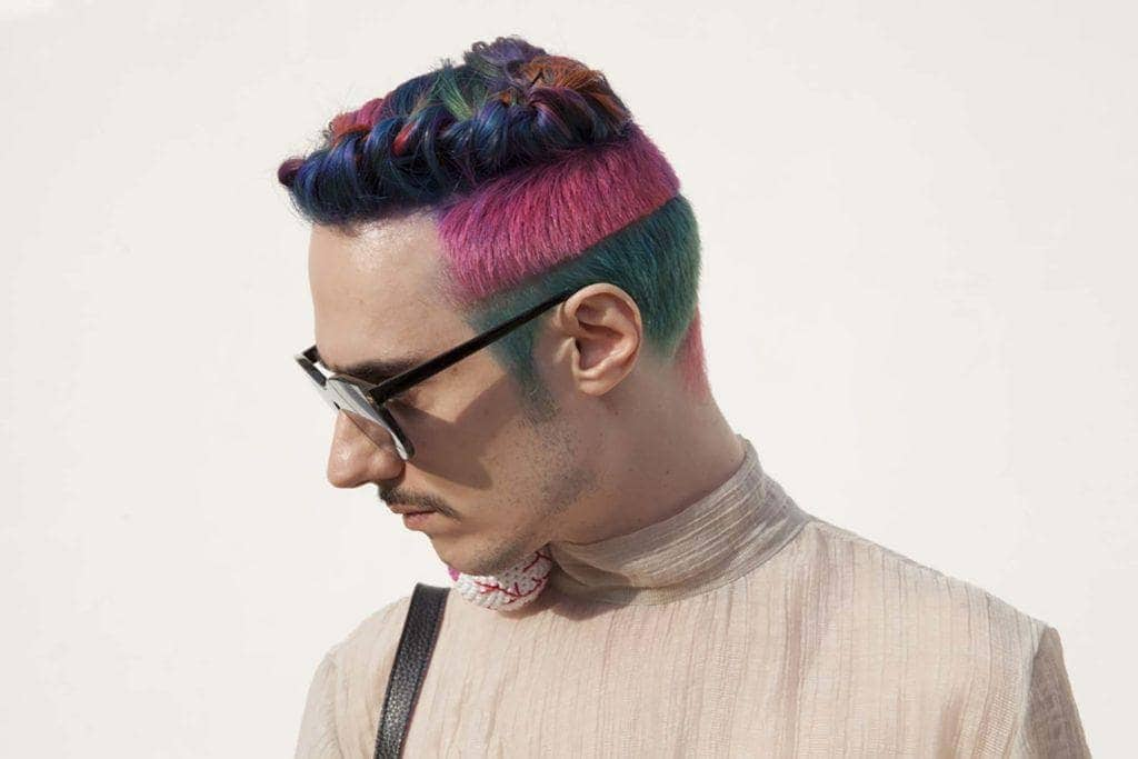 rainbow cut men's hair color