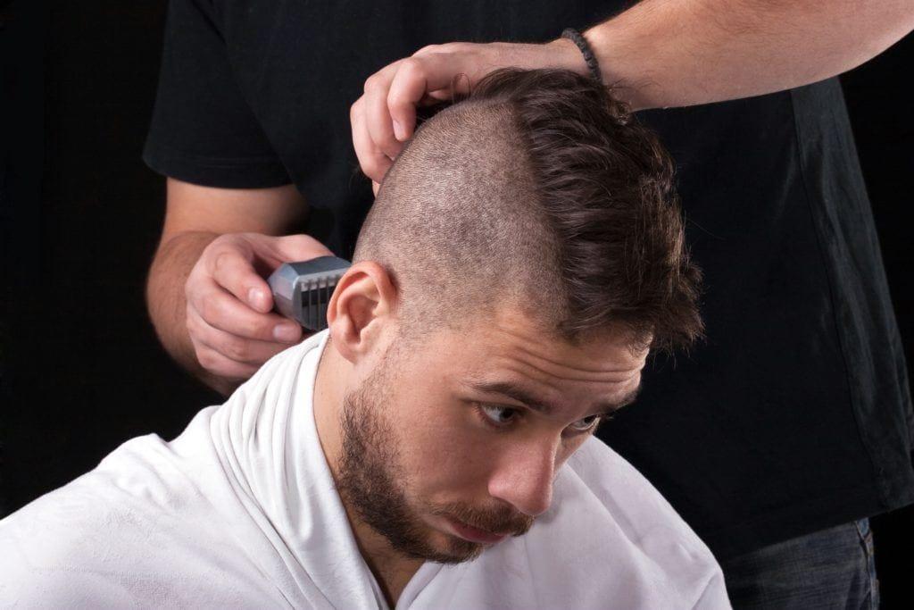 mohawk fade beard barber brunette