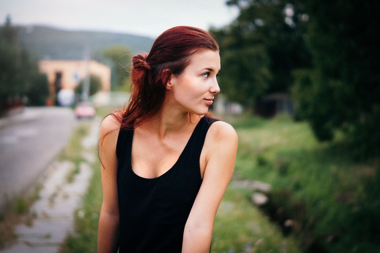 red balayage hair half-up