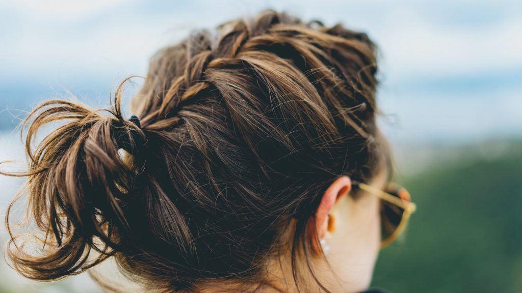 faux hawk braid messy ponytail