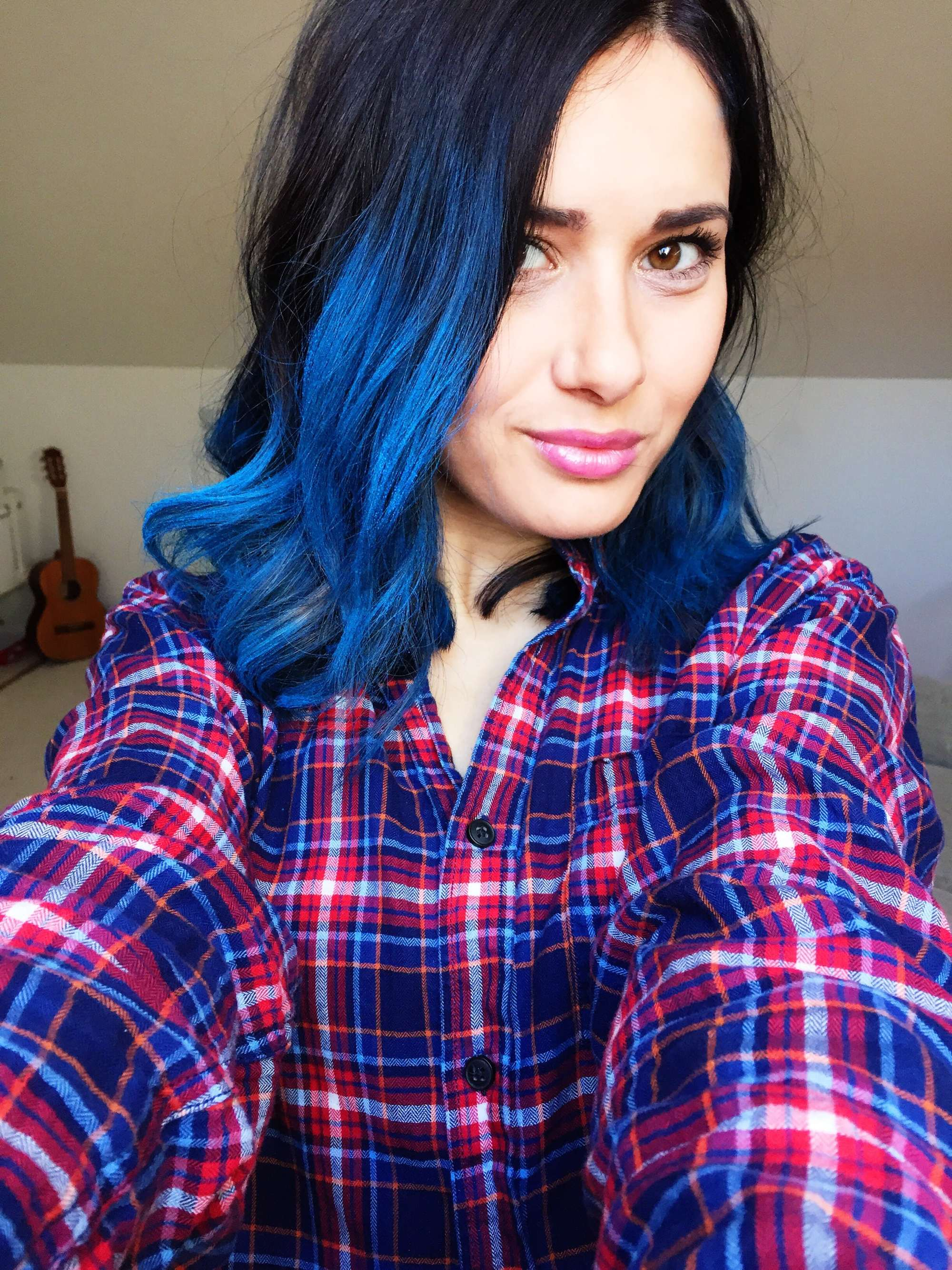 two tone hair black blue
