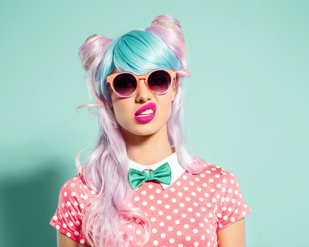 two tone hair neon colors