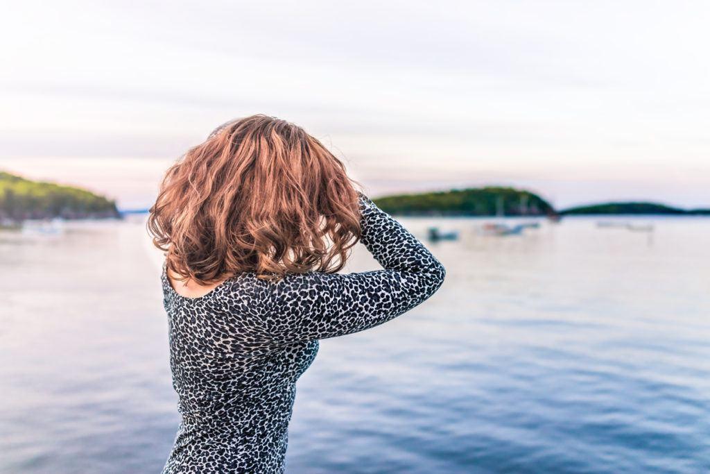 body wave perm: auburn hair