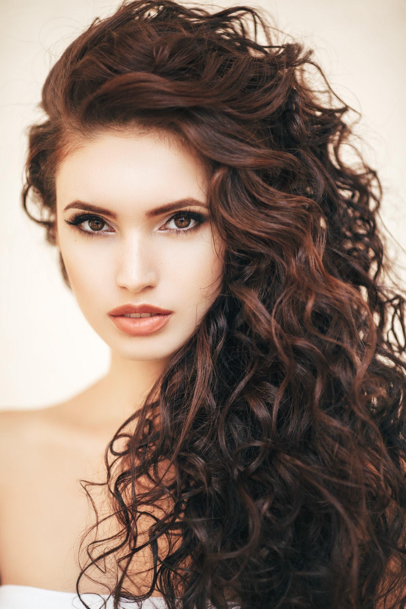 curly perm auburn brunette curls