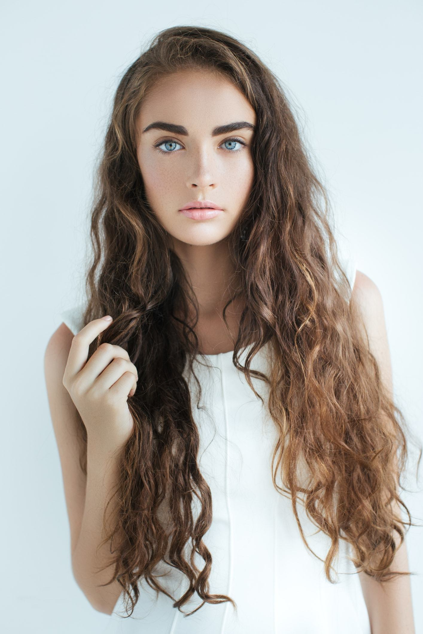 curly perm long loose small brunette curls