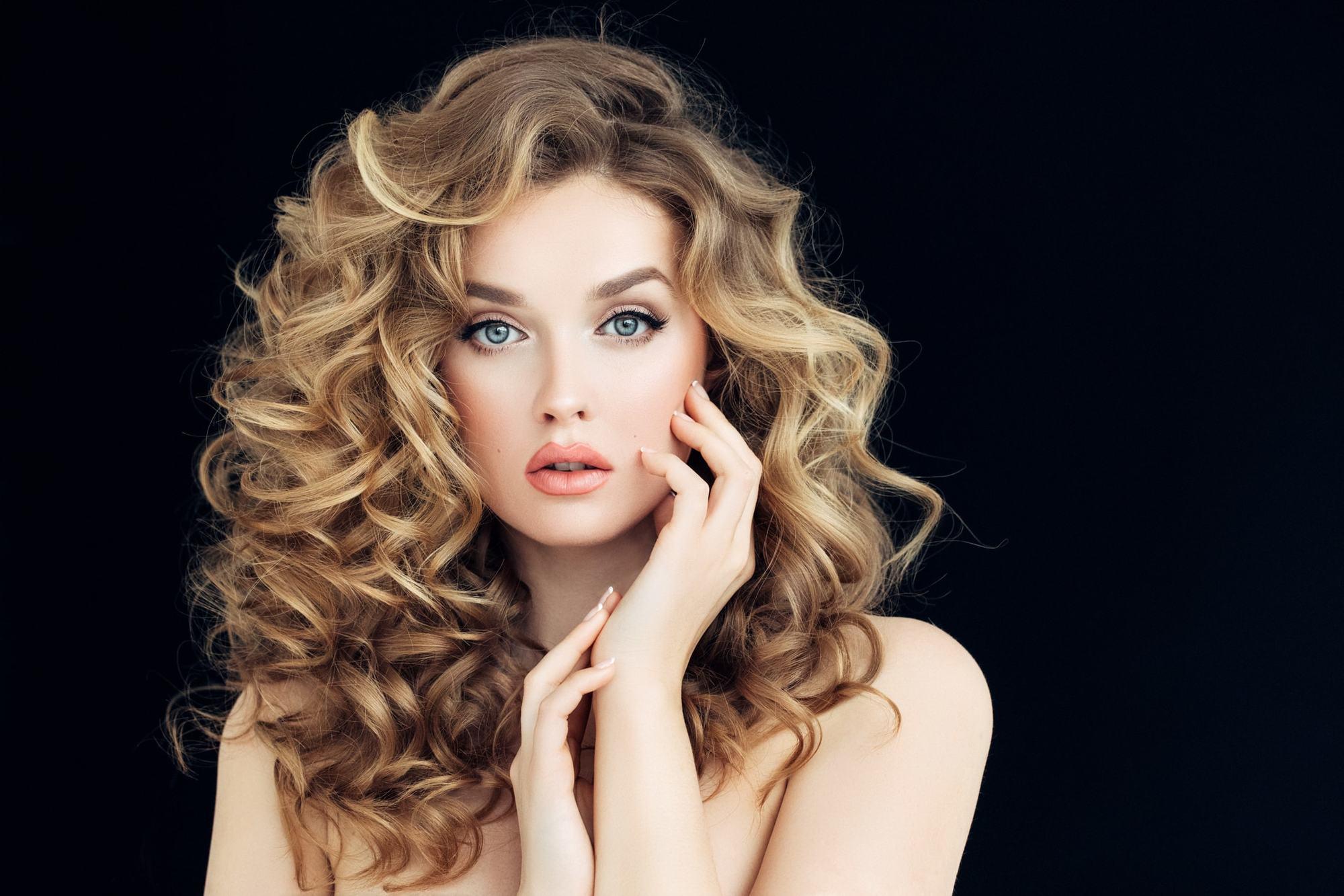 curly perm oversized curls blonde volume