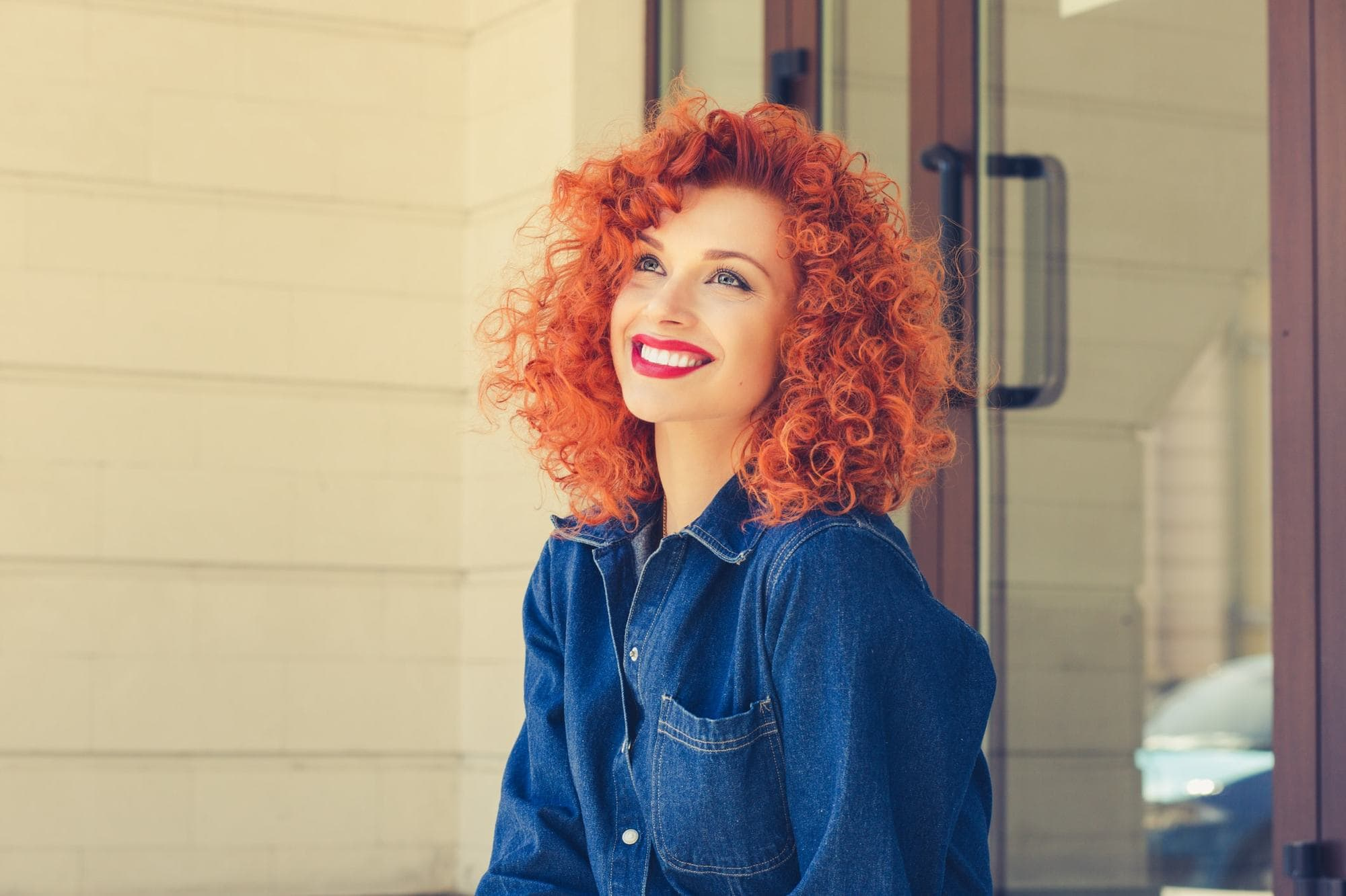 curly perm vivid red