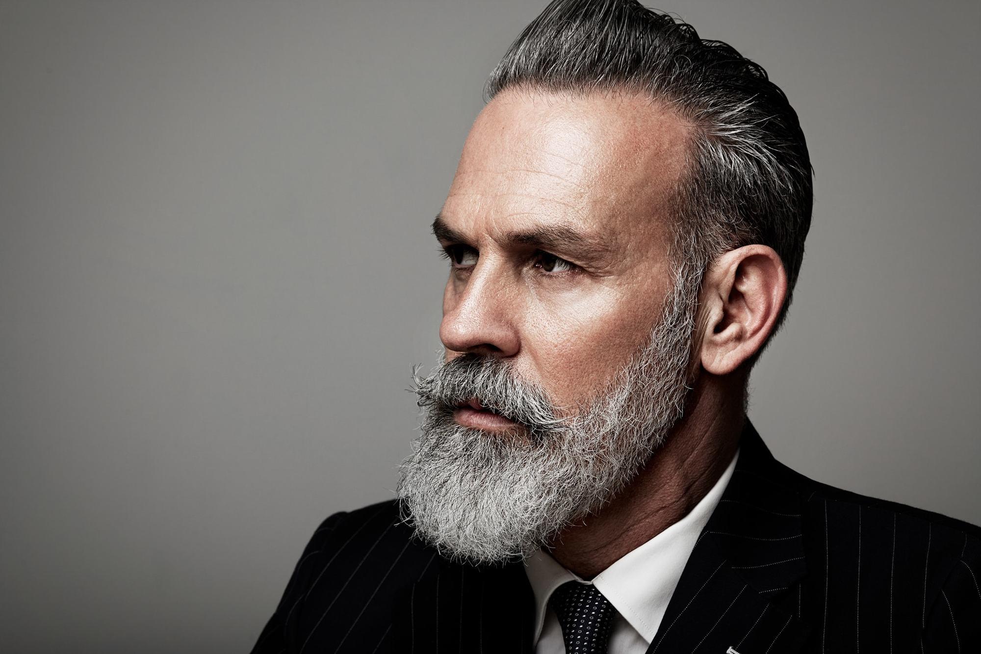 hairstyles for men over 50 styled beard hair gel