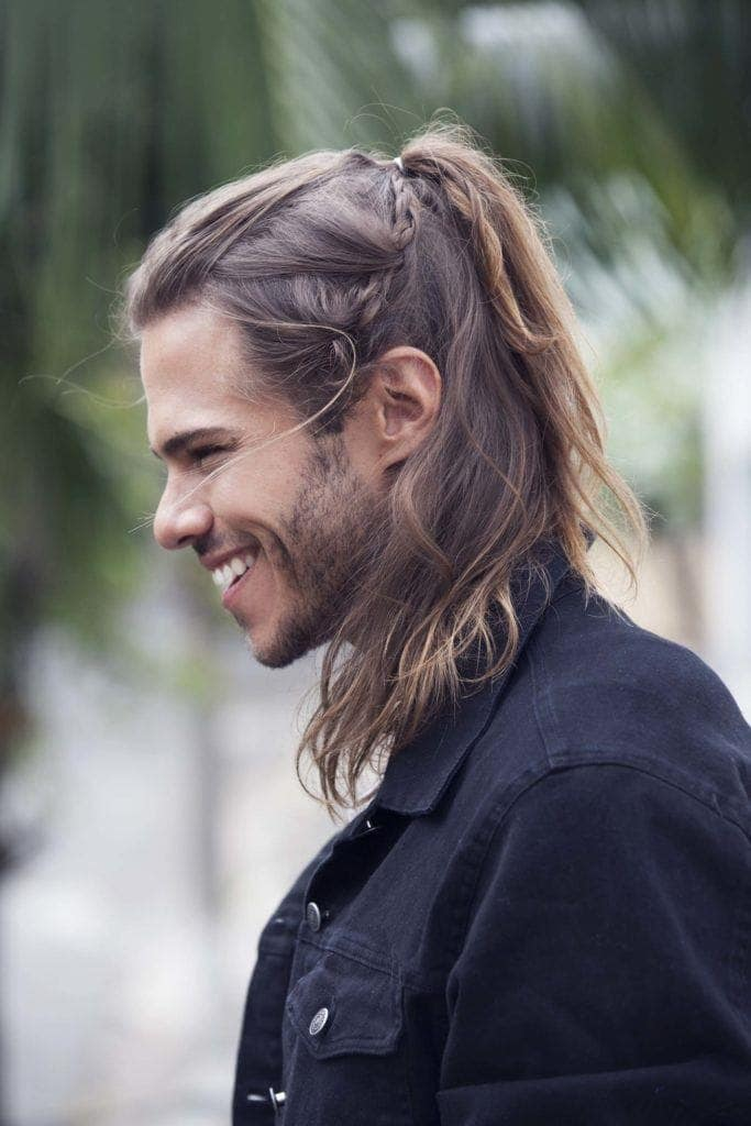 men's sea salt spray: half up hairstyle with texture