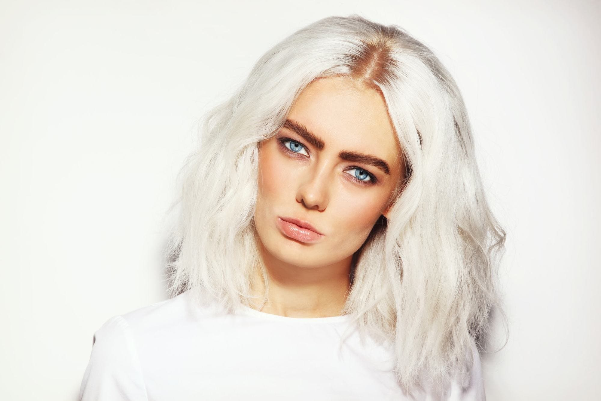 metallic hair bleach white blonde