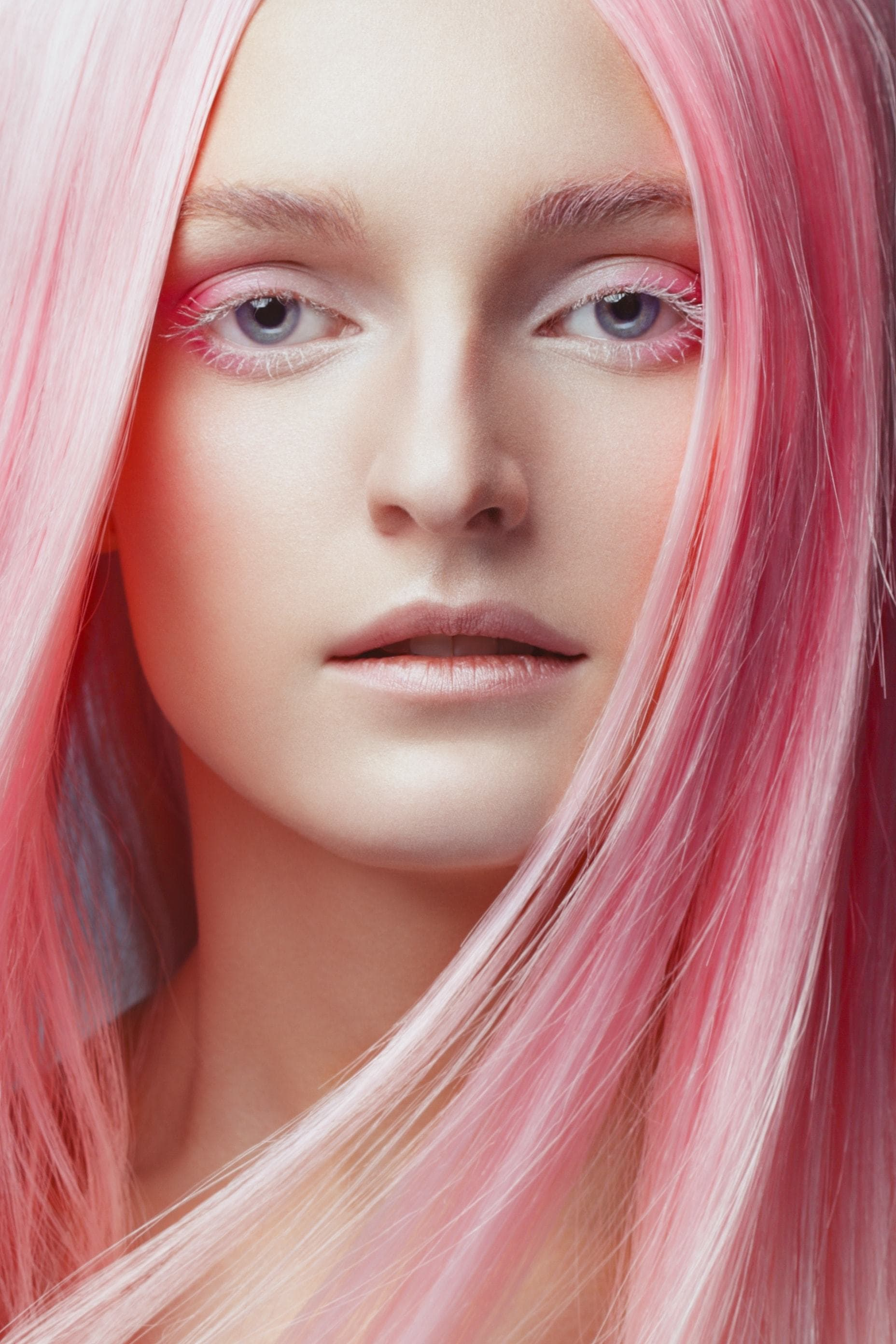 metallic hair pink long straight
