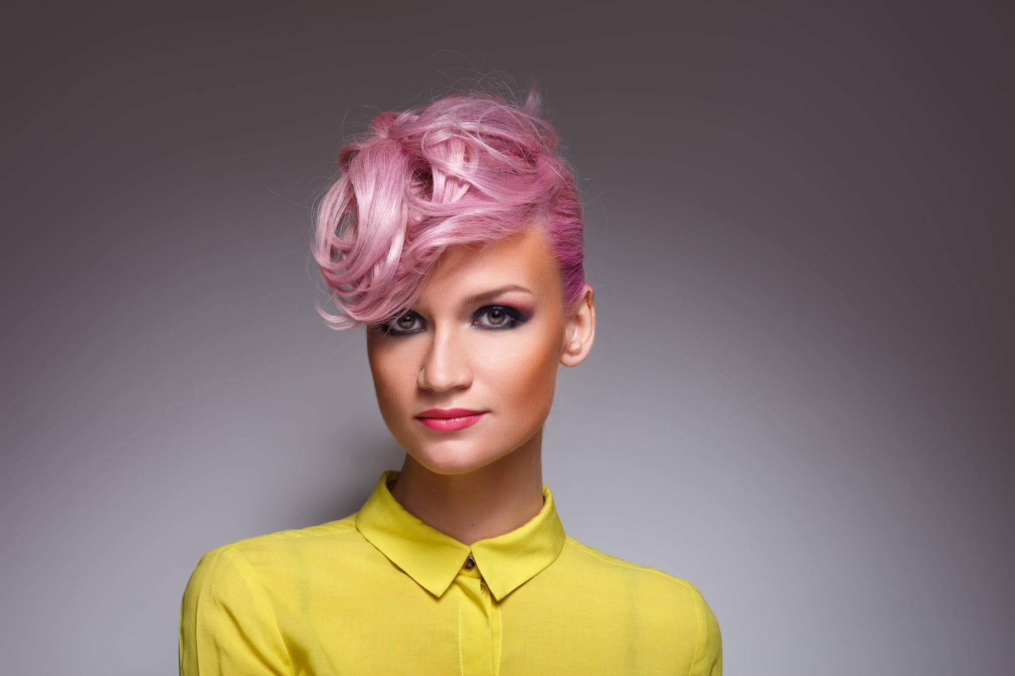 metallic hair swooped pink short hair