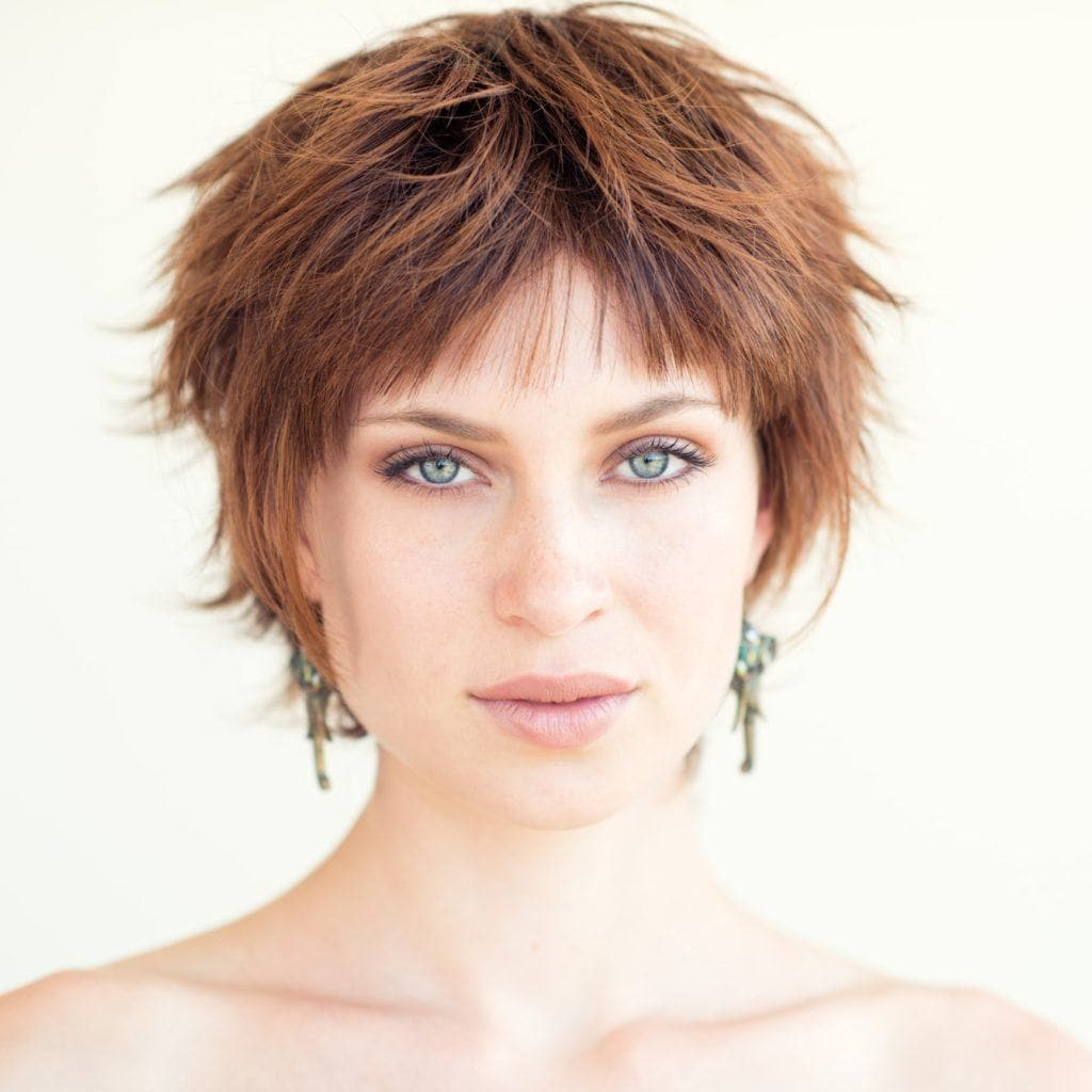 short haircuts for oval faces spiked red overgrown pixie